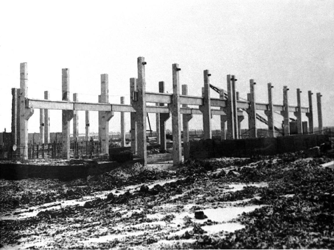 Начало строительства Куйбышевского азотнотукового завода.